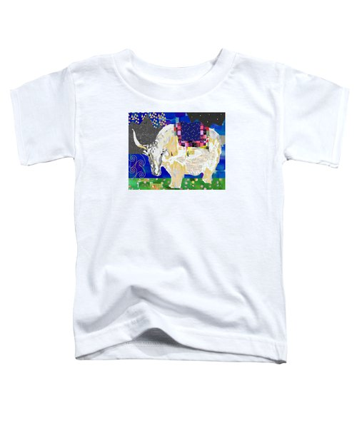 Stay Curious Cow Collage  Toddler T-Shirt by Claudia Schoen