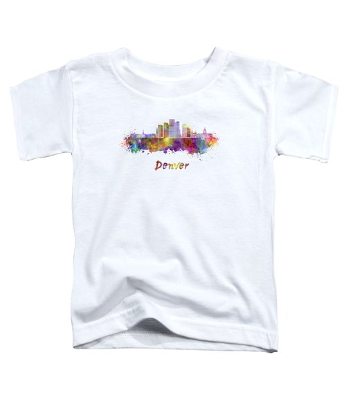 Denver Skyline In Watercolor Toddler T-Shirt