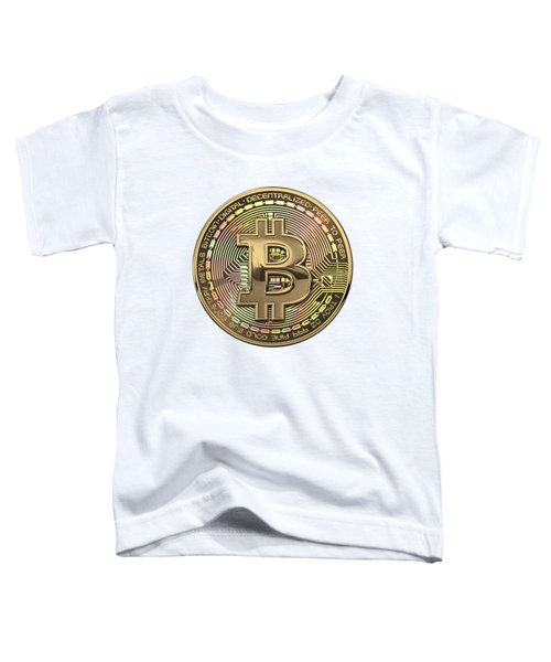 Gold Bitcoin Effigy Over White Leather Toddler T-Shirt