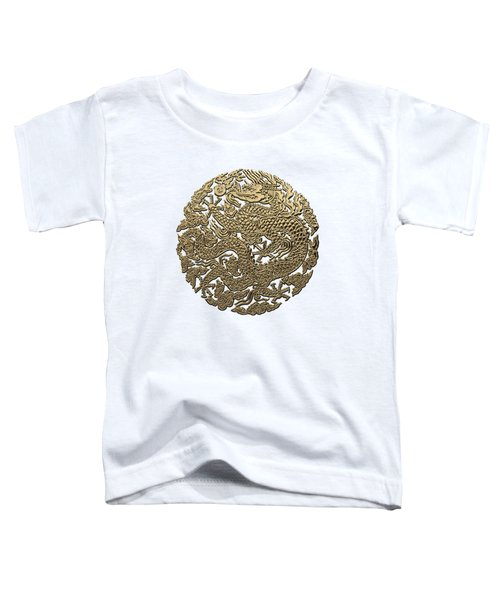 Golden Chinese Dragon White Leather  Toddler T-Shirt by Serge Averbukh