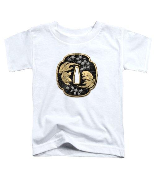 Japanese Katana Tsuba - Twin Gold Fish On Black Steel Over White Leather Toddler T-Shirt