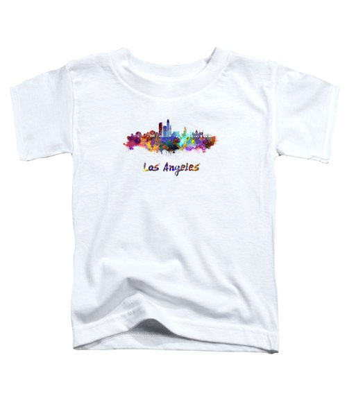 Los Angeles Skyline In Watercolor Toddler T-Shirt by Pablo Romero