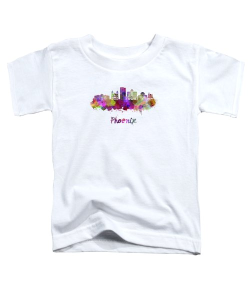 Phoenix Skyline In Watercolor Toddler T-Shirt by Pablo Romero