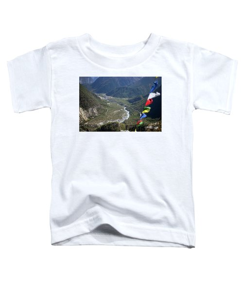 Prayer Flags In The Himalaya Mountains, Annapurna Region, Nepal Toddler T-Shirt