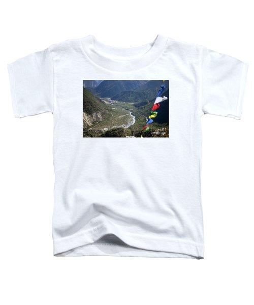 Prayer Flags In The Himalaya Mountains, Annapurna Region, Nepal Toddler T-Shirt
