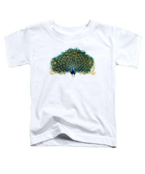 Scroll Swirl Art Deco Nouveau Peacock W Tail Feathers Spread Toddler T-Shirt