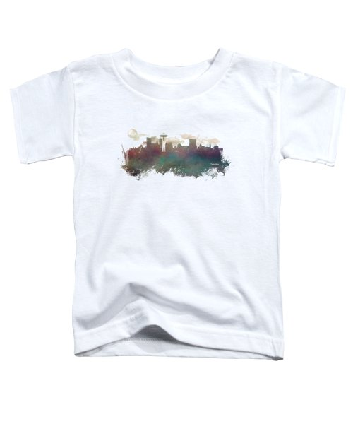 Seattle Washington Skyline Toddler T-Shirt by Justyna JBJart