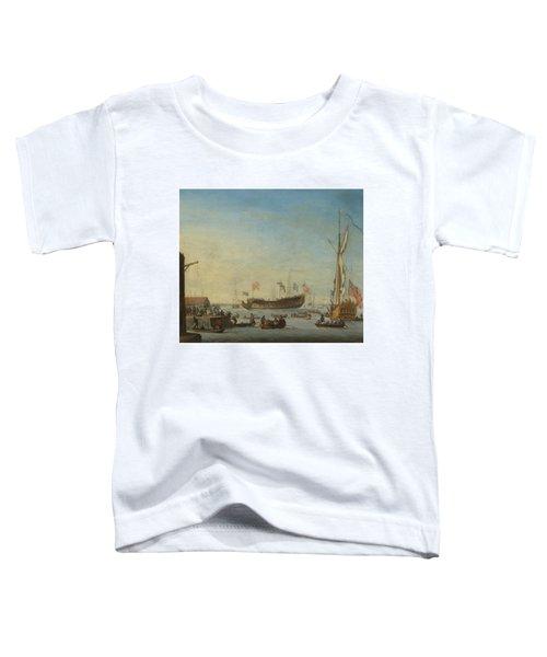The Launch Of A Man Of War Toddler T-Shirt by Robert Woodcock