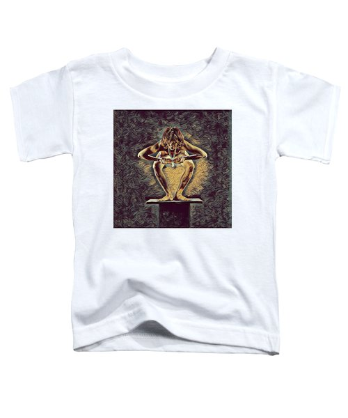 1083s-zac Dancer Squatting On Pedestal With Amulet Nudes In The Style Of Antonio Bravo  Toddler T-Shirt