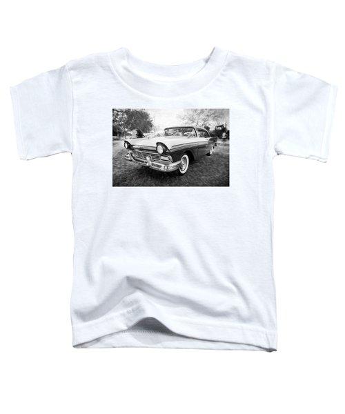 1957 Ford 2 Door Fairlane C129 Bw    Toddler T-Shirt