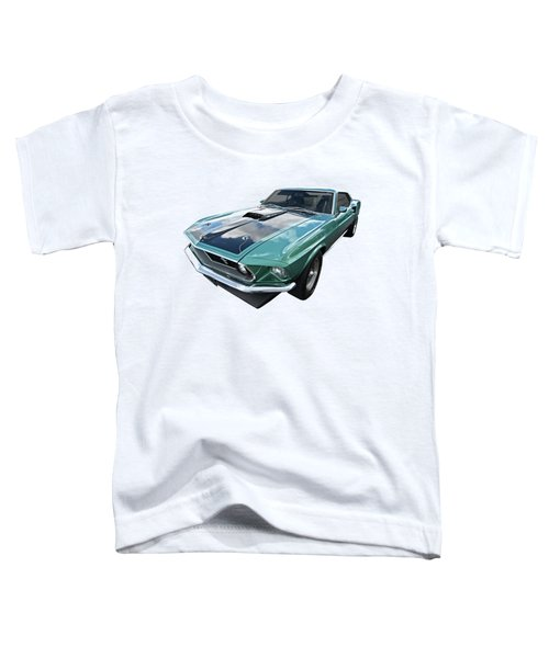 1969 Green 428 Mach 1 Cobra Jet Ford Mustang Toddler T-Shirt by Gill Billington