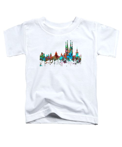 Barcelona Spain Skyline Toddler T-Shirt by Marlene Watson