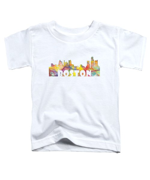 Boston Massachusetts Skyline Toddler T-Shirt by Marlene Watson