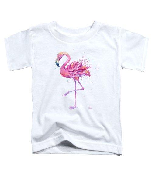 Pink Flamingo Watercolor Toddler T-Shirt