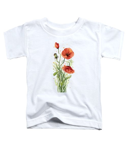 Red Poppies Watercolor Toddler T-Shirt