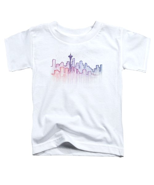 Seattle Skyline Watercolor Toddler T-Shirt by Olga Shvartsur