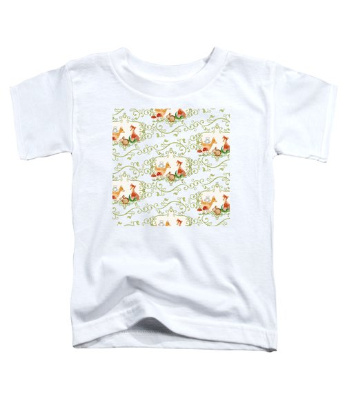 Woodland Fairytale - Animals Deer Owl Fox Bunny N Mushrooms Toddler T-Shirt