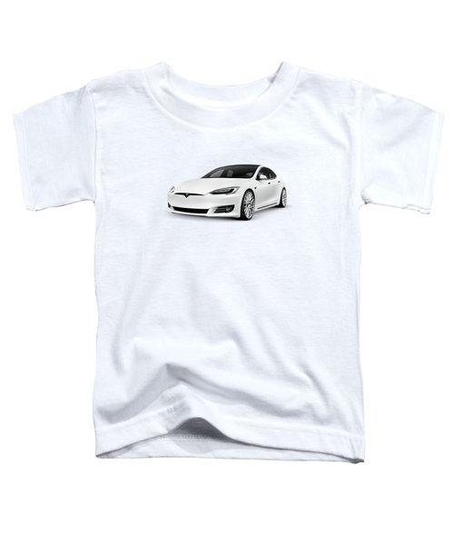 2018 Tesla Model S, White Luxury Electric Car  Toddler T-Shirt