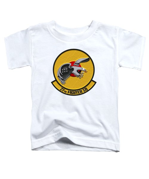 27th Fighter Squadron - 27 Fs Patch Over White Leather Toddler T-Shirt by Serge Averbukh