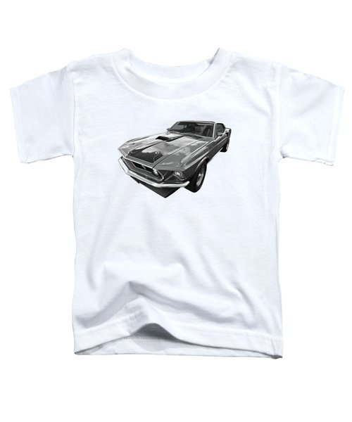 428 Cobra Jet Mach1 Ford Mustang 1969 In Black And White Toddler T-Shirt