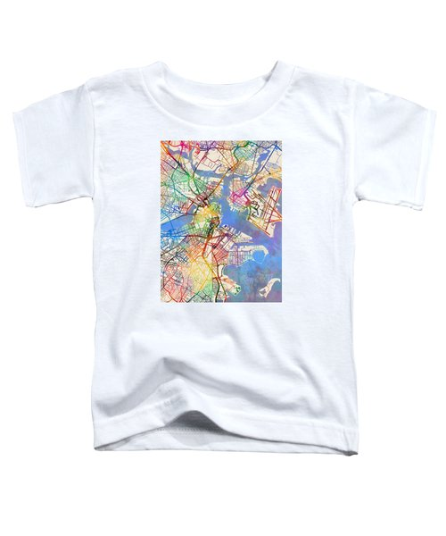 Boston Massachusetts Street Map Toddler T-Shirt