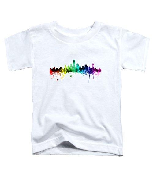 Dallas Texas Skyline Toddler T-Shirt by Michael Tompsett