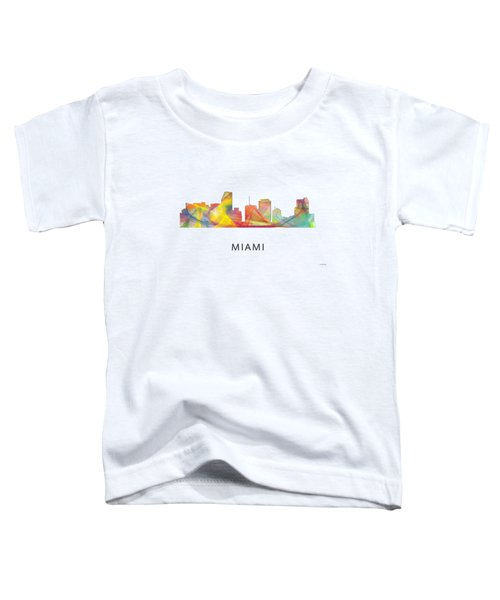 Miami Florida Skyline Toddler T-Shirt by Marlene Watson
