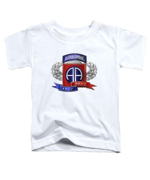 82nd Airborne Division 100th Anniversary Insignia Over White Leather Toddler T-Shirt