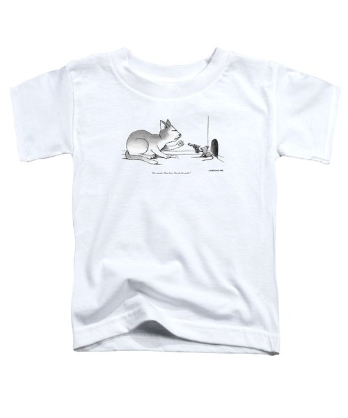 A Mouse Is In Front Of A Mouse Hole Pointing Toddler T-Shirt