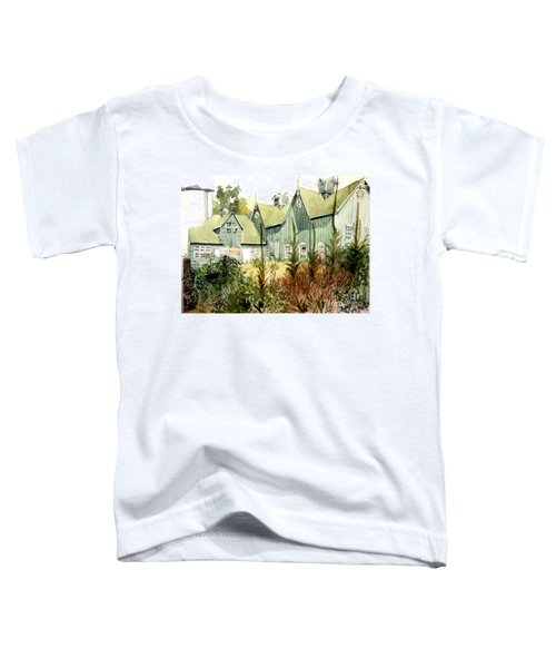Watercolor Of An Old Wooden Barn Painted Green With Silo In The Sun Toddler T-Shirt