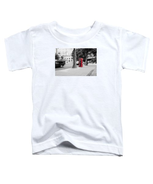 A Single Red Telephone Box On The Street Bw Toddler T-Shirt