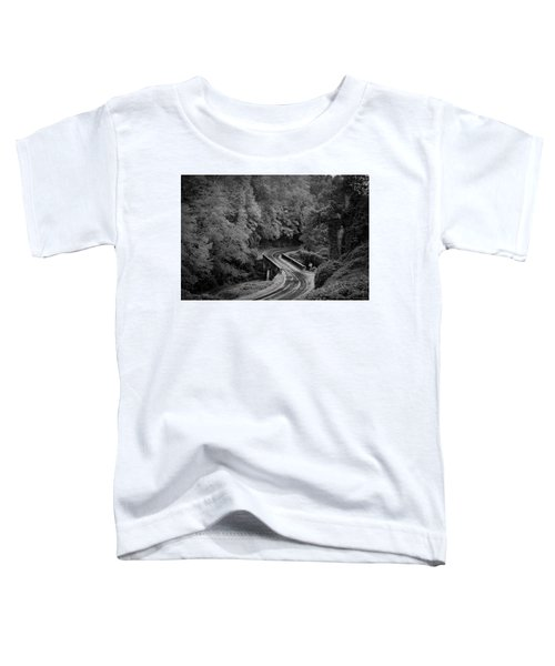 A Wet And Twisty Road Through The Blue Ridge Mountains In Black And White Toddler T-Shirt