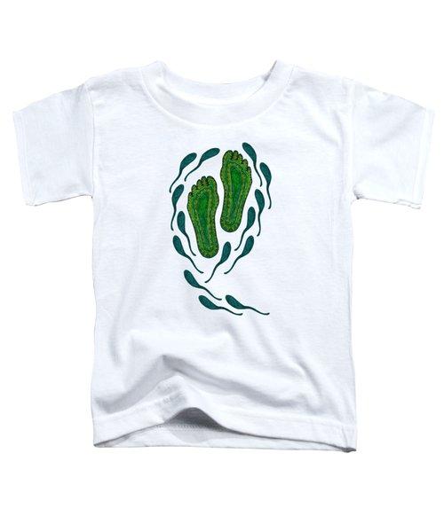 Aboriginal Footprints Green Transparent Background Toddler T-Shirt
