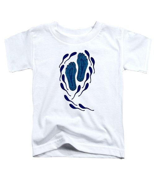 Aboriginal Footprints In Blue Transparent Background Toddler T-Shirt
