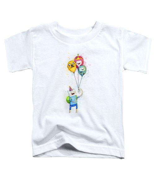 Adventure Time Finn With Birthday Balloons Jake Princess Bubblegum Bmo Toddler T-Shirt by Olga Shvartsur