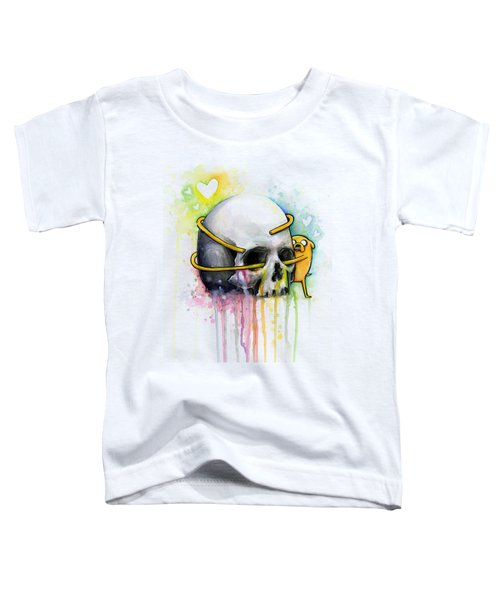 Adventure Time Jake Hugging Skull Watercolor Art Toddler T-Shirt