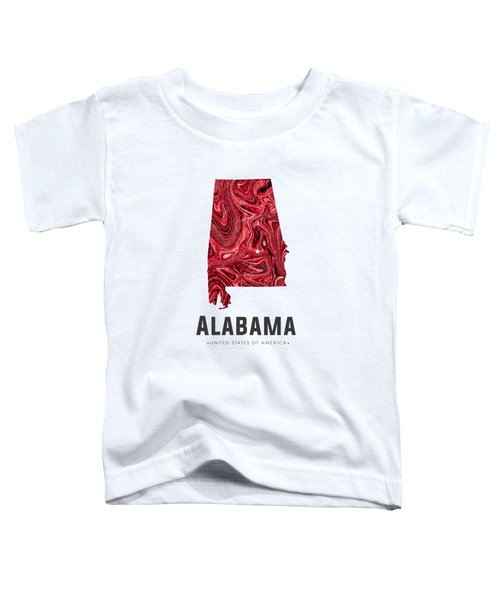 Alabama Map Art Abstract In Red Toddler T-Shirt