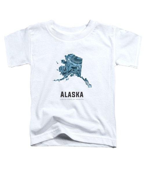 Alaska Map Art Abstract In Blue Toddler T-Shirt