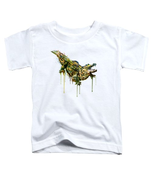 Alligator Watercolor Painting Toddler T-Shirt by Marian Voicu