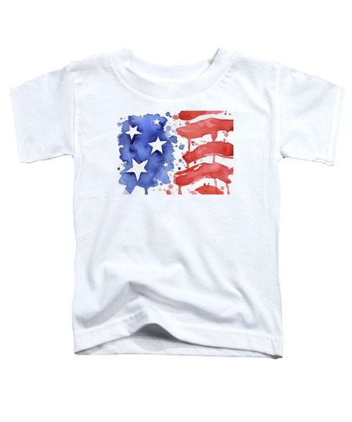 American Flag Watercolor Painting Toddler T-Shirt