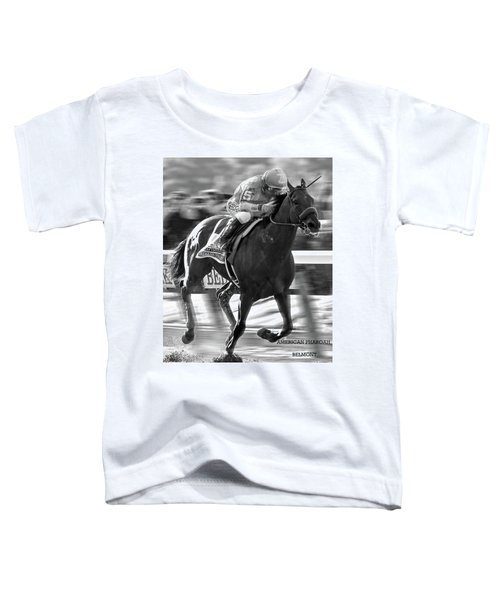 American Pharoah And Victor Espinoza Win The 2015 Belmont Stakes Toddler T-Shirt by Thomas Pollart