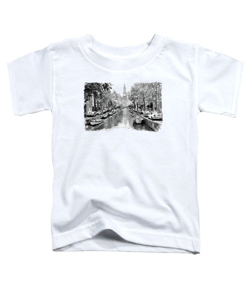 Amsterdam Canal 2 Black And White Toddler T-Shirt by Marian Voicu