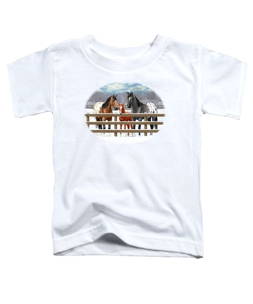 Appaloosa Horses In Winter Ranch Corral Toddler T-Shirt