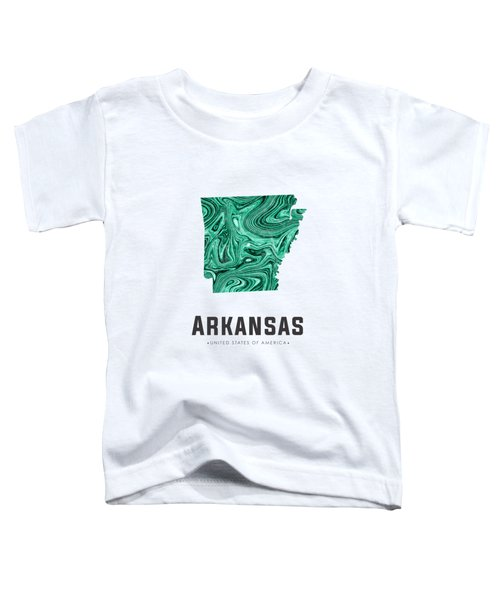 Arkansas Map Art Abstract In Green Toddler T-Shirt