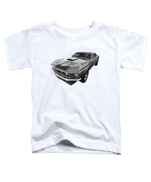 428 Cobra Jet Mach1 Ford Mustang 1969 In Black And White Toddler T-Shirt by Gill Billington