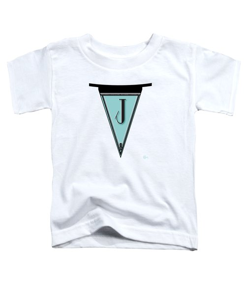 Pennant Deco Blues Banner Initial Letter J Toddler T-Shirt by Cecely Bloom