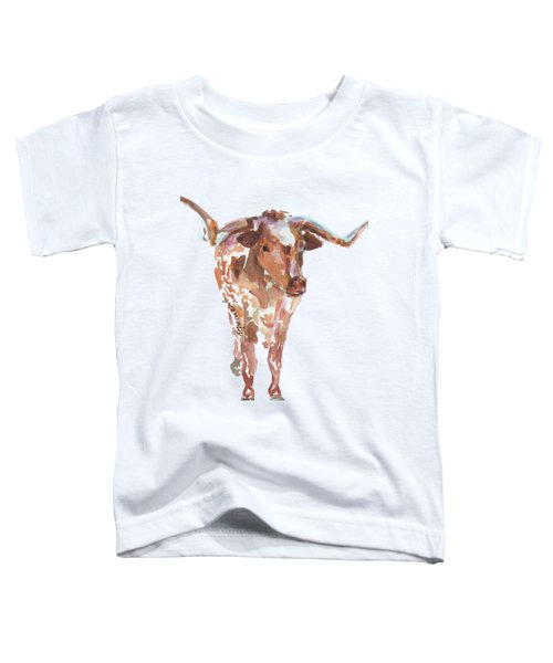 The Original Longhorn Standing Earth Quack Watercolor Painting By Kmcelwaine Toddler T-Shirt