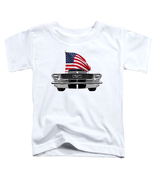 Patriotic Mustang On White Toddler T-Shirt