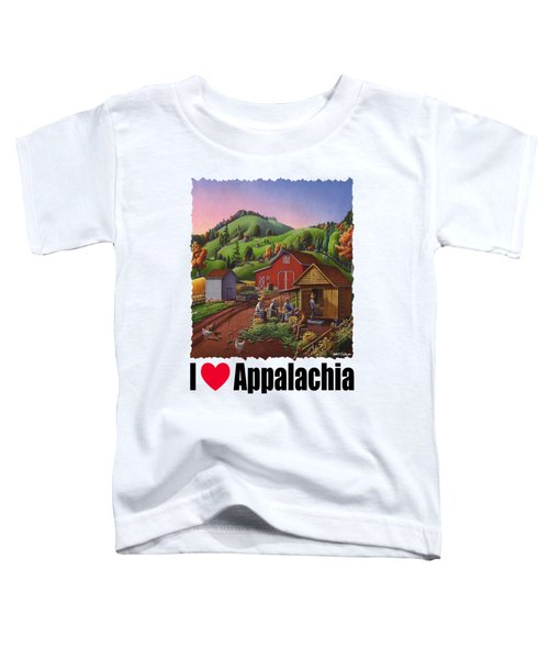 I Love Appalachia - Farmers Shucking Corn And Storing In Corncrib - Corn Crib Toddler T-Shirt