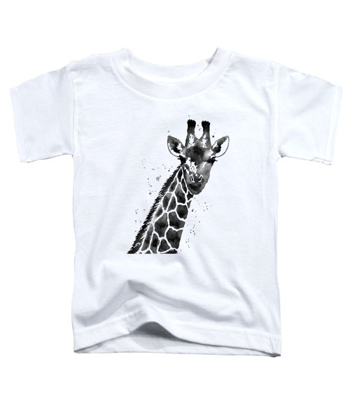 Giraffe In Black And White Toddler T-Shirt by Hailey E Herrera